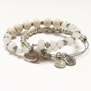 Alex and Ani Silver Beaded Bracelet Set of Two